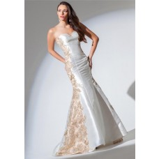 Mermaid Sweetheart White Satin Gold Applique Lace Beaded Prom Dress