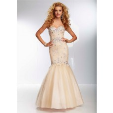 Mermaid Trumpet Sweetheart Corset Back Long Champagne Nude Tulle Lace Beaded Prom Dress