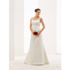 Mermaid V Back Lace Satin Draped Wedding Dress With Straps