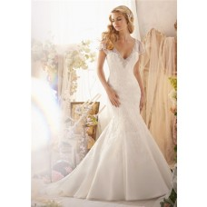 Mermaid V Neck Detachable Short Sleeve Organza Lace Wedding Dress KeyHole Open Back