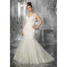 Mermaid V Neck Illusion Back Sleeveless Tulle Lace Plus Size Wedding Dress