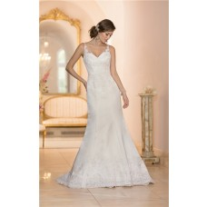 Mermaid V Neck Low Back Ivory Satin Lace Wedding Dress With Straps