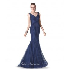 Mermaid V Neck Navy Blue Tulle Long Formal Occasion Evening Dress