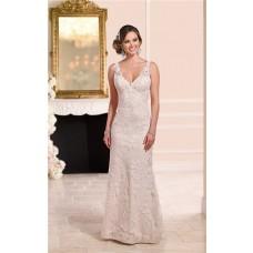 Mermaid V Neck Open Back Light Nude Satin Ivory Lace Wedding Dress