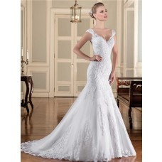 Mermaid V Neck Sheer Back Cap Sleeve Strap Tulle Lace Wedding Dress