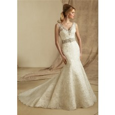 Mermaid V Neck Sheer Straps Lace Beaded Wedding Dress With Buttons