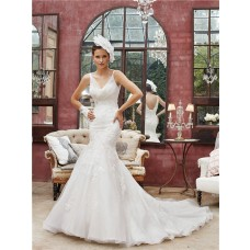 Mermaid V Neck Sheer Straps Tulle Lace Wedding Dress With Chapel Train