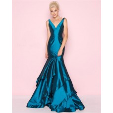 Mermaid V Neck Teal Taffeta Ruffle Layered Evening Prom Dress