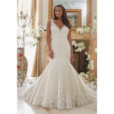 Mermaid V Neck Tulle Lace Crystal Beaded Plus Size Wedding Dress