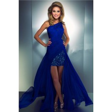 Modern High Low One Shoulder Royal Blue Chiffon Beaded Homecoming Party Prom Dress