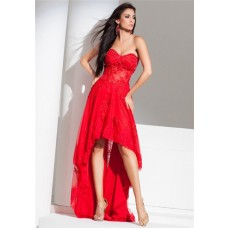Modern High Low Strapless Red Tulle Lace Beaded Corset Homecoming Prom Dress