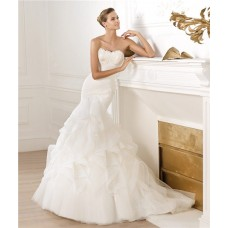 Modern Mermaid Strapless Sweetheart Feather Neckline Draped Tulle Wedding Dress