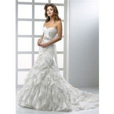 Modern Mermaid Sweetheart Organza Wedding Dress With Ruffles Crystal Belt