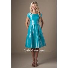 Modest A Line Bateau Neck Short Sleeves Aqua Taffeta Bridesmaid Dress With Buttons