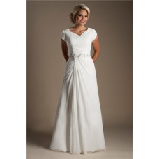 Modest A Line Cap Sleeve Chiffon Ruched Wedding Dress Beading Belt