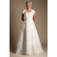 Modest A Line Cap Sleeve High Back Satin Lace Wedding Dress