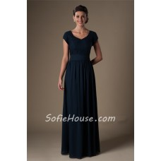 Modest A Line Cap Sleeve Long Navy Blue Lace Chiffon Evening Prom Dress