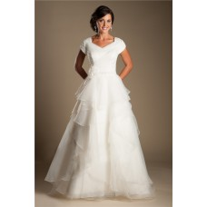 Modest A Line Cap Sleeve Organza Ruffle Layered Wedding Dress With Flower