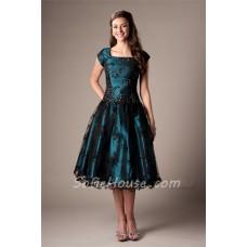 Modest A Line Cap Sleeve Teal Satin Black Lace Tea Length Corset Prom Dress