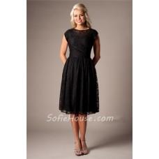 Modest A Line Cap Sleeved Black Lace Short Party Bridesmaid Dress