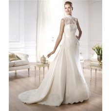 Modest A Line High Neck Satin Lace Wedding Dress With Detachable Train