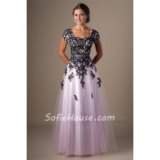 Modest A Line Long Pink Tulle Black Lace Prom Dress With Sleeves
