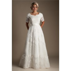 Modest A Line Short Sleeve Lace Beaded Wedding Dress With Sash