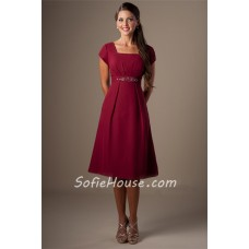 Modest A Line Square Neck Cap Sleeves Burgundy Chiffon Short Bridesmaid Dress