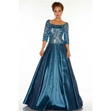Modest A Line Square Neck Long Teal Blue Taffeta Beaded Evening Prom Dress With Sleeves