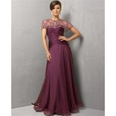Modest A Line Strapless Long Purple Chiffon Evening Dress With Beaded Jacket