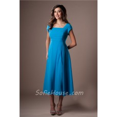Modest A Line Tea Length Turquoise Blue Chiffon Party Bridesmaid Dress With Sleeves