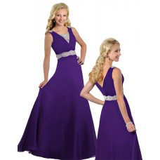Modest A Line V Neck Long Purple Chiffon Beaded Teen Prom Dress
