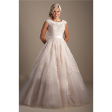 Modest Ball Gown Scoop Neck Cap Sleeve Lace Applique Wedding Dress With Sash