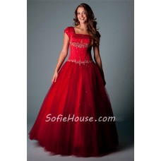 Modest Ball Gown Square Neck Cap Sleeve Red Satin Tulle Beaded Corset Prom Dress