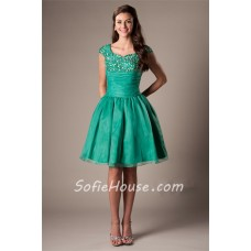 Modest Ball Gown Sweetheart Cap Sleeve Emerald Green Organza Beaded Short Prom Dress