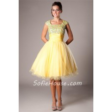 Modest Ball Square Neck Cap Sleeve Short Yellow Tulle Corset Prom Dress