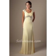 Modest Cap Sleeve Empire Waist Daffodil Yellow Chiffon Beaded Evening Prom Dress