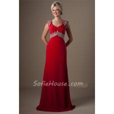Modest Cap Sleeve Empire Waist Red Chiffon Beaded Long Evening Prom Dress