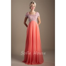 Modest Empire Waist Sleeve Long Coral Chiffon Beaded Rhinestone Prom Dress