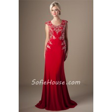 Modest Fitted Cap Sleeve Long Red Jersey Applique Beaded Prom Dress