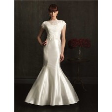 Modest Fitted Mermaid High Neck Cap Sleeve Taffeta Beaded Lace Wedding Dress