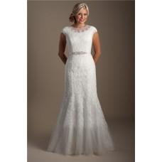 Modest Mermaid High Neck Cap Sleeve Lace Applique Wedding Dress With Sash