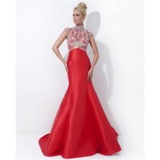 Modest Mermaid High Neck Cap Sleeve Long Red Satin Beaded Evening Prom Dress