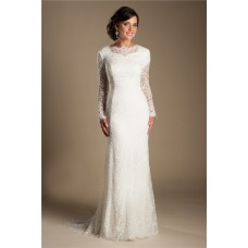 Modest Mermaid High Neck Long Sleeve Vintage Lace Wedding Dress Sweep Train