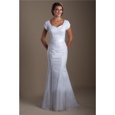 Modest Mermaid Queen Anne Neckline Lace Wedding Dress With Short Sleeves
