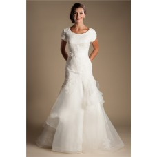 Modest Mermaid Scoop Neck Cap Sleeve Organza Ruffle Lace Wedding Dress With Sash
