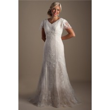 Modest Mermaid V Neck Vintage Lace Beaded Wedding Dress With Sleeves
