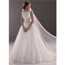 Modest Princess Ball Gown Bateau Neck Satin Tulle Wedding Dress With Crystal