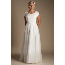 Modest Sheath Cap Sleeve Tulle Lace Wedding Dress Without Train