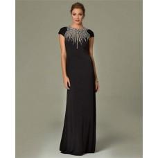 Modest Sheath High Neck Cap Sleeve Long Black Chiffon Beaded Formal Evening Dress